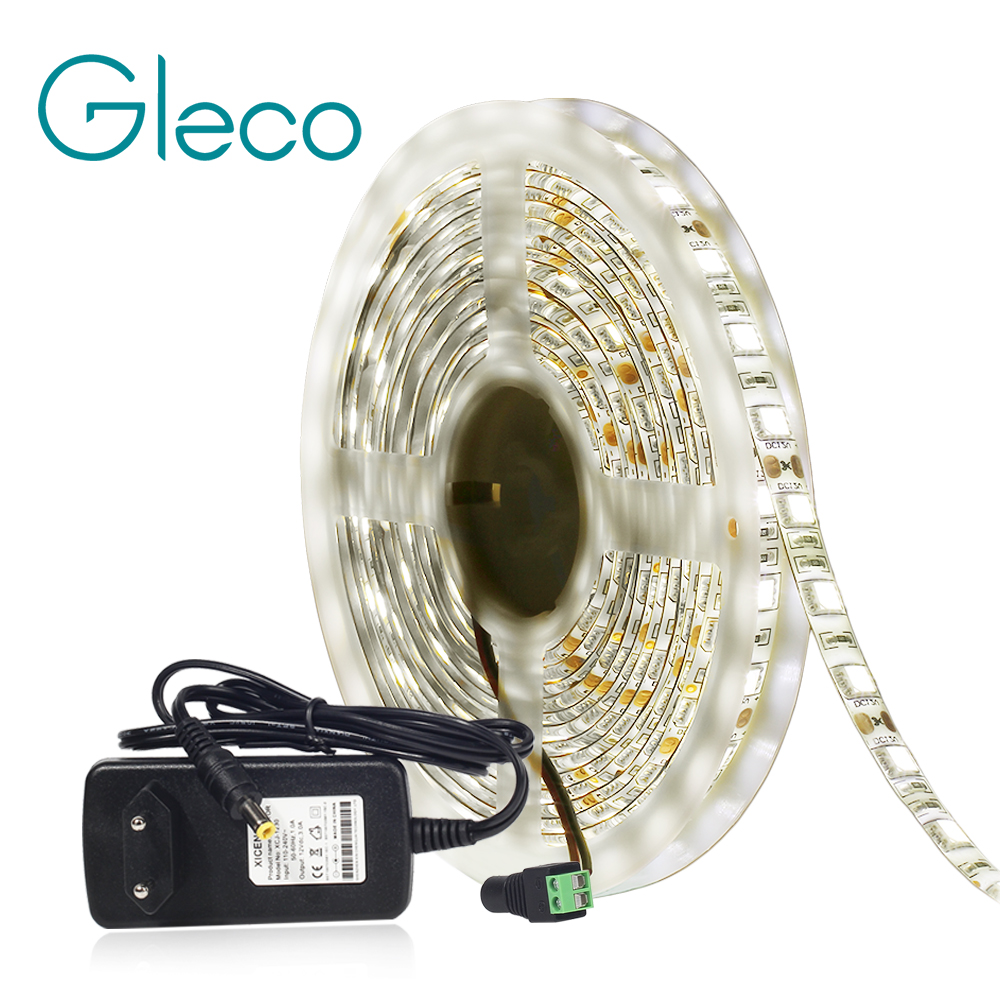 Neutral White 4000K LED Strip Light 5050 60led/m 5M DC12V 5050 LED Strip Day Light With 12V Power Suppply
