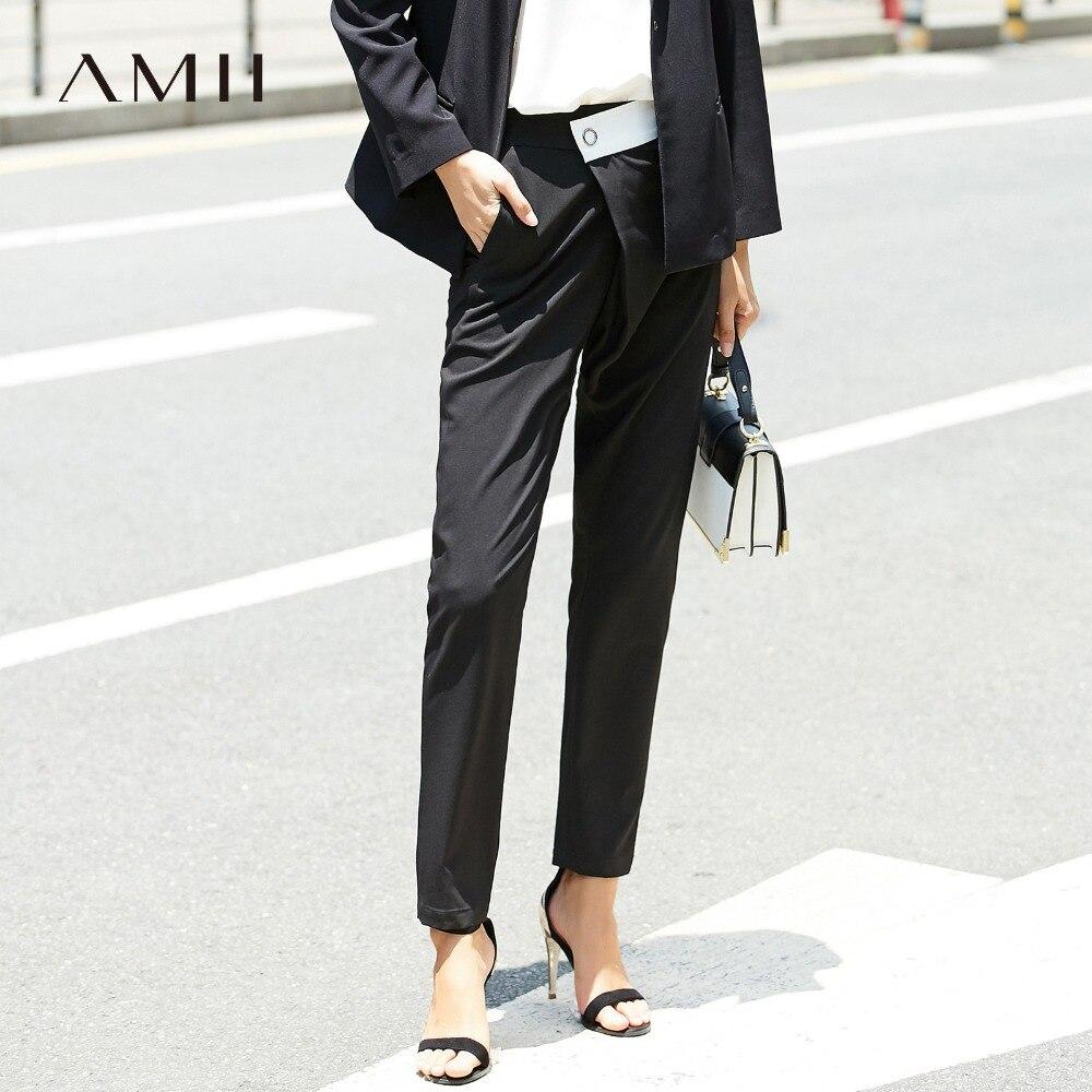 Amii Women Minimalist Pants 2019 High Waist Button Fly Asymmetric Contrast Color Long Female Trousers