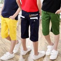 LavnLavn zomer broek kids boy broek casual knielengte jongens broek effen kleur capri voor jongen, 3-10 jr