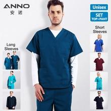 ANNO одноцветное Цвета Медицинские кусты набор Для женщин и человек хирургии одежда Рубашка с короткими рукавами Медсестра равномерное врач костюм больницы зубные вырос