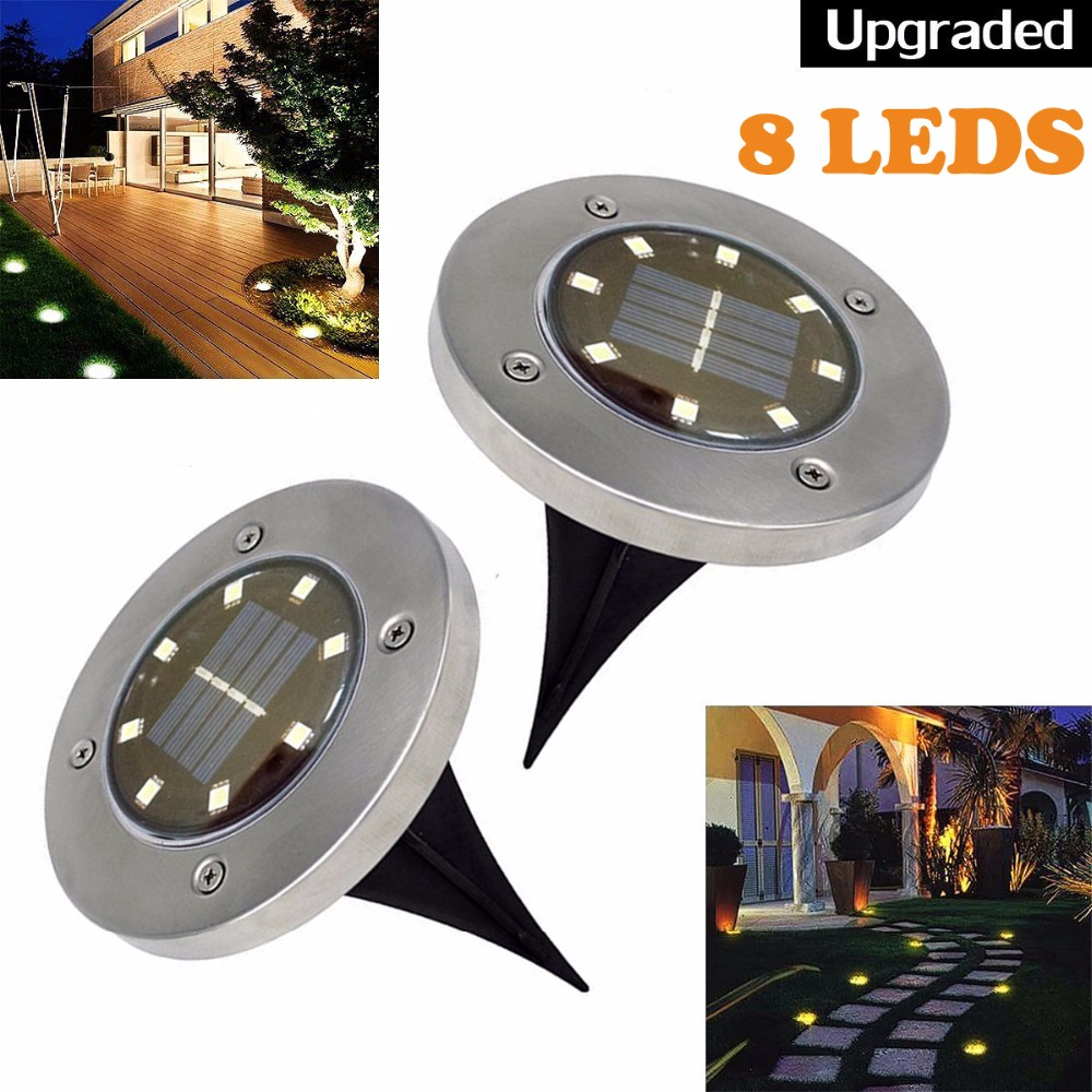 2 Stucke Solar Powered Boden Licht 8 Leds Wasserdicht Garten Pathway