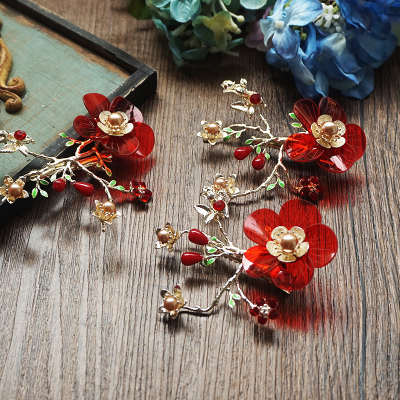 3pcs sets high end wine red pink flower gold hair Clip Hair Jewelry Wedding Bride hair jewelry wholesale