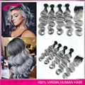 Ombre Brazilian Grey hair weaves 4pcs with closure grey ombre hair extensions free shipping grey virgin hair body wave