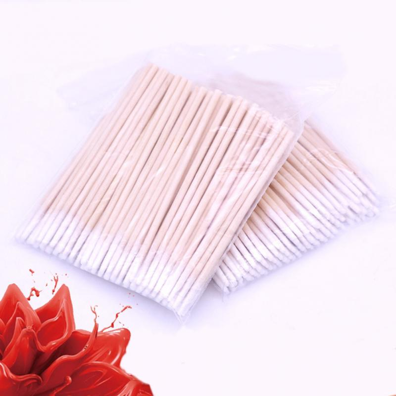 100Pcs/bag Semi-permanent Embroidery Supplies Cotton Swabs Disposable Wooden Sticks Tip Cotton Swabs