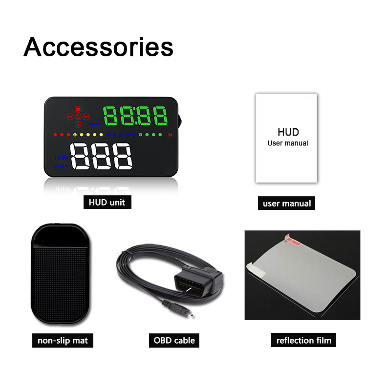 Image 5 - OBDHUD A300 OBDII Head Up Display 9V 16V MPH KM/H Fuel Speed Warning System Windshield Projector Car Accesorie Free Shipping-in Head-up Display from Automobiles & Motorcycles