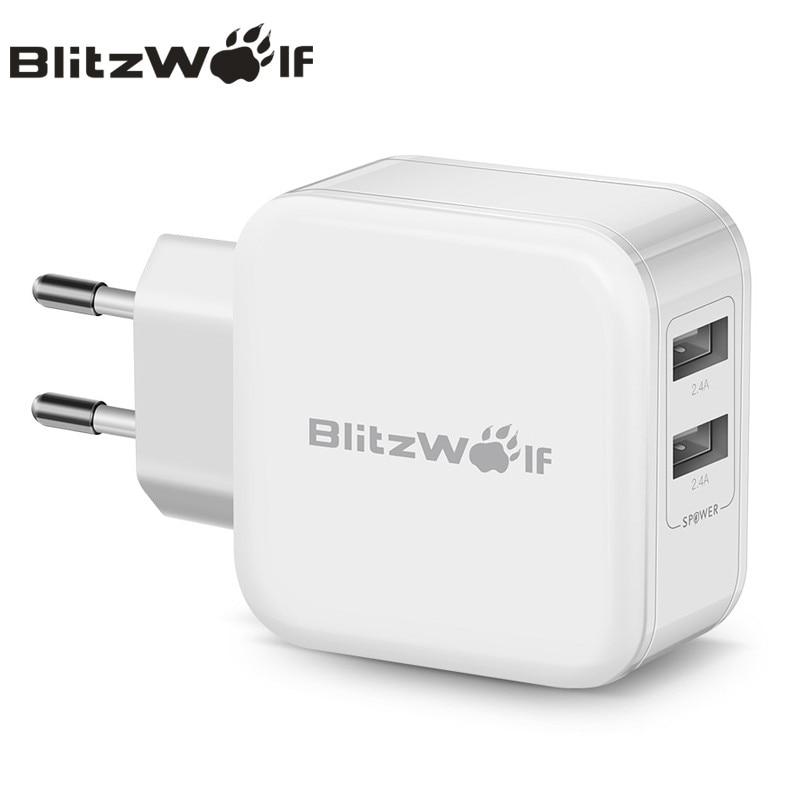 BlitzWolf Dual USB Ladegerät Reise-ladegerät Schnelle Handy-ladegerät Adapter 2.4A EU AU Für iPhone X 8 Plus 7 6 s Für Samsung