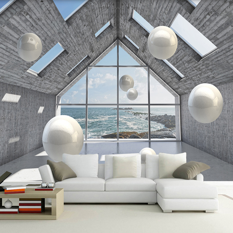 Custom Photo Wallpaper 3D Abstract Space Stereoscopic Circle Ball Background Mural Wall Painting Living Room Sofa TV Backdrop custom photo wallpaper 3d stereoscopic cave seascape sunrise tv background modern mural wallpaper living room bedroom wall art