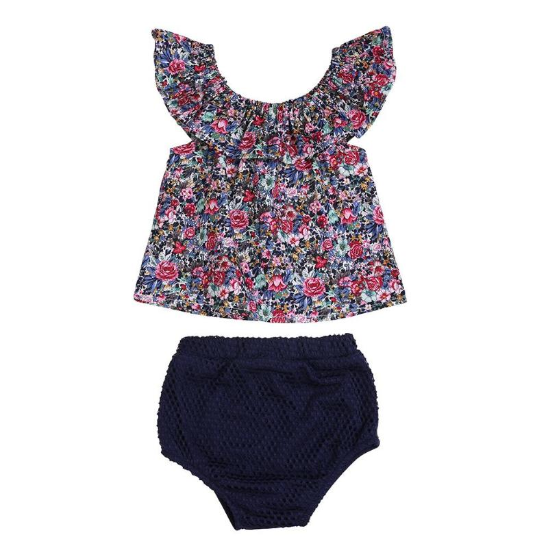 Outfits Clothing-Set Playsuit Romper Floral-Tops Girls Newborn-Baby Summer 2pcs Casual