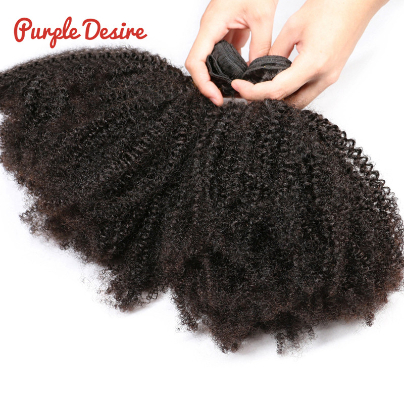 Afro Kinky Curly Hair 3 Bundles Brazilian Curly Hair 100% Remy Human Hair Bundles Extensions 8-30inch Natural Double Weft Weave (2)