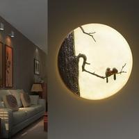 Modern LED Wall Lamp Creative Round Sconce Bedroom Lamp Fashion Resin LED Light Fixtures Lampara Pared Living Room Arandela