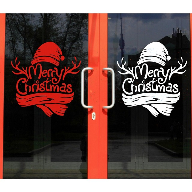 Merry christmas window home decor vinyl stickers christmas for Christmas window mural