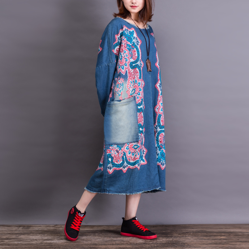 Free Shipping 2017 New Fashion Long Mid-calf Denim Dresses For Women One-piece Jeans Print Dresses With Pockets Plus Size Dress free shipping new fashion plus size s l stretch velour dresses for women long maxi one piece dress spring autumn velvet hoodies