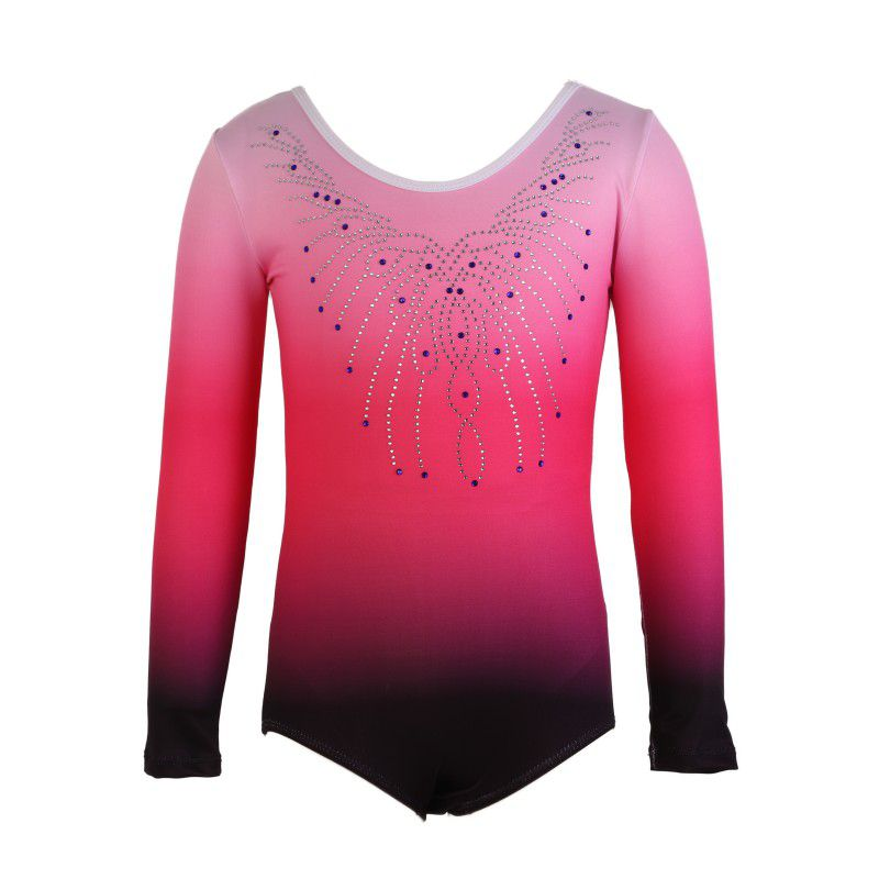 Girls Leotards Ballet Dress Ballerina Ballet Leotards Gymnastics Long Sleeve Gradient Color Costumes Dance Wear Costumes1