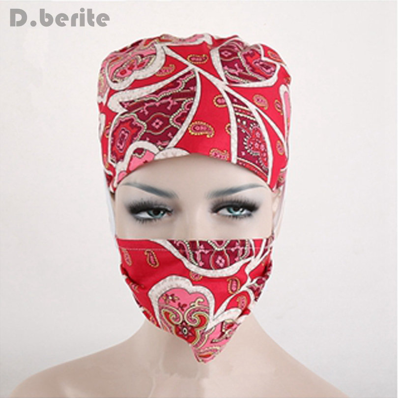Flower Printing Scrub Cap Cotton Nursing Cap Adjustable Medical Surgical Surgery Hat + Mask Unisex   Skullies   &   Beanies   DAJ9062