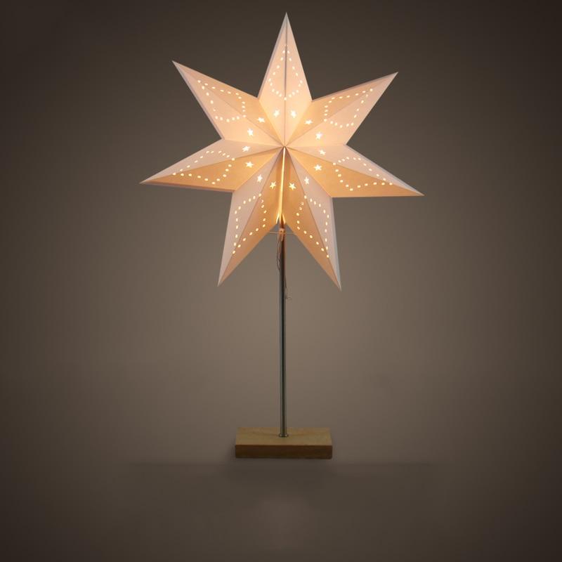 Led Desk Lamp Table Light Paper Star Wood Lamp Nordic