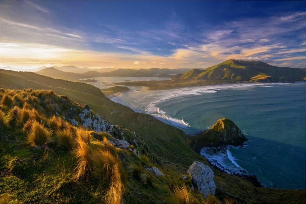 sunset beaches grass zealand