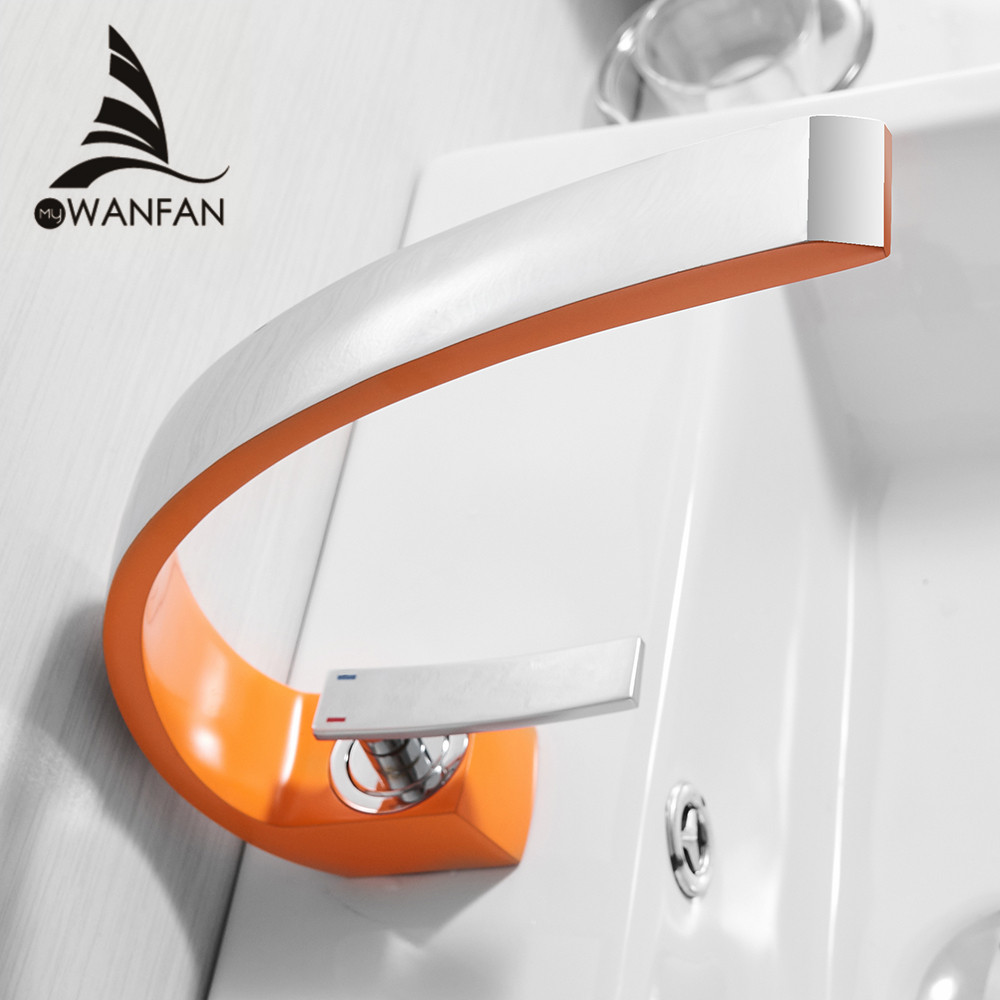 Смеситель для раковины Современный Смеситель для ванной комнаты латунный умывальник кран с одной ручкой одно отверстие белый водопад кран ...