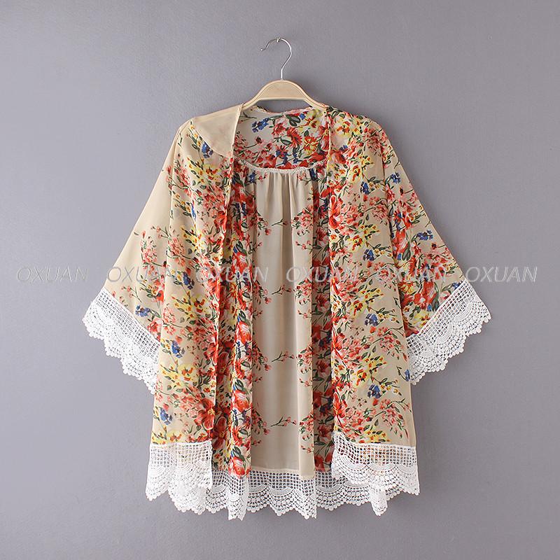 Fashion Women Floral Pattern Printed Lace Kimono Cardigan Blouse Shirt Brand Tops Batwing Sleeve Blusas Femininas 8