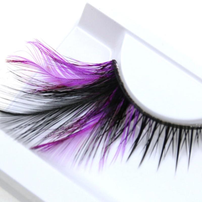 YOKPN Exaggerated Eye Lashes Handmade Art Studio Make-up Tools False Eyelashes Purple Black Cross Thick Feather Fake Eyelashes