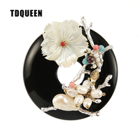 TDQUEEN Brooches Black Natural Stone High Quality Broches Vintage Pin Jewelry Freshwater Pearls Shell Flower Brooch