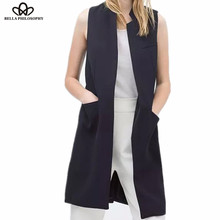 New stylish spring/summer blazer vest coat women stand collar long suit vest black white dark blue with two pockets outwears(China)