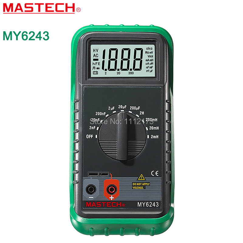 MASTECH MY6243 Handheld 3 1/2 Digital multimeter henrymeter capacitance meter tester 1pF to 200uF/1uH to 2H free shipping my68 handheld auto range digital multimeter dmm w capacitance frequency