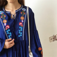 Beautiful Ethnic Bohemian Flowers Embroidery Shirt Women Tops Long Puff Sleeve Retro Chemise Femme Chemisier Blusa