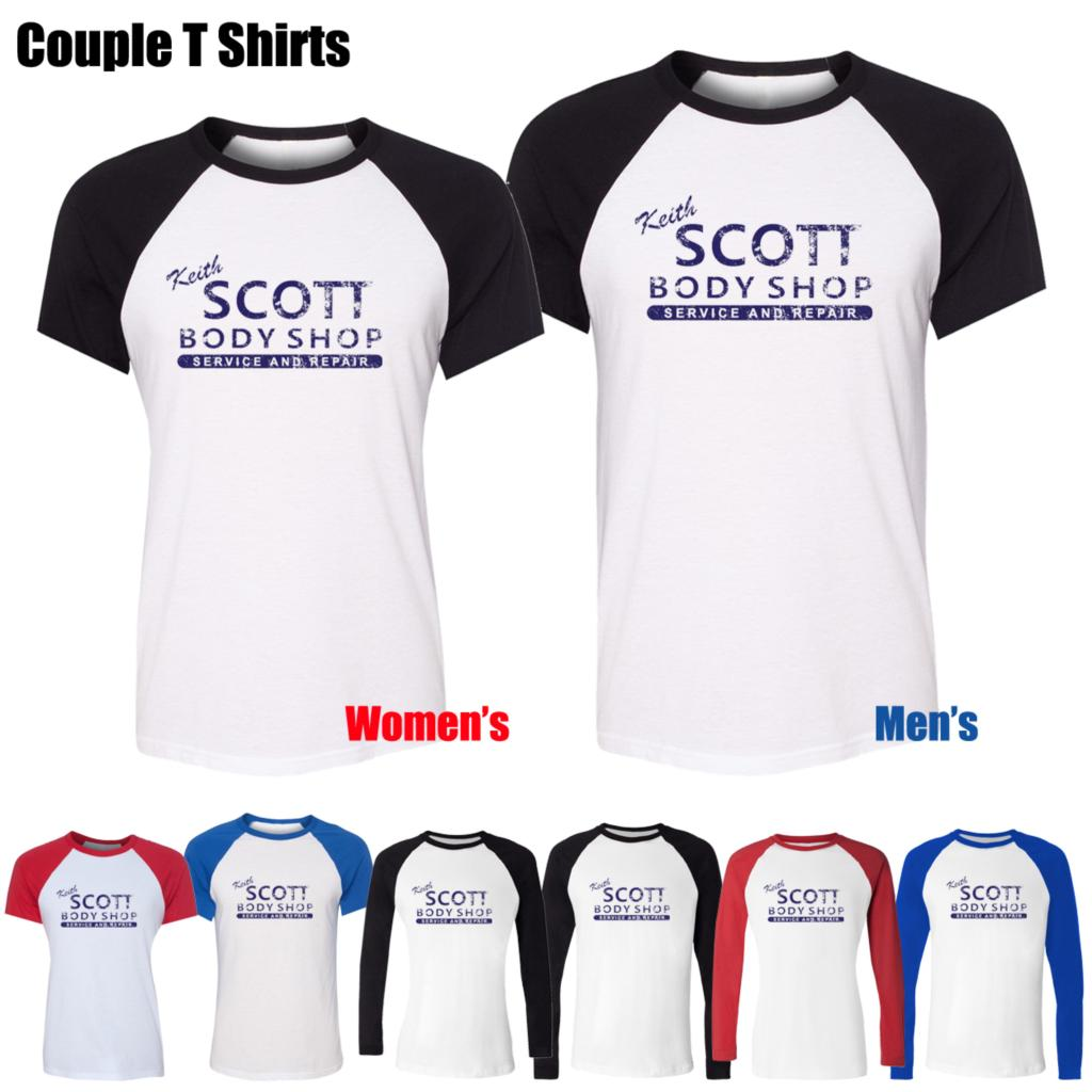 Keith Scott One Tree Hill Inspired Body Shop Pattern Printed T-Shirt Womens Girls tee Tops Red or Black Sleeve couple Tee