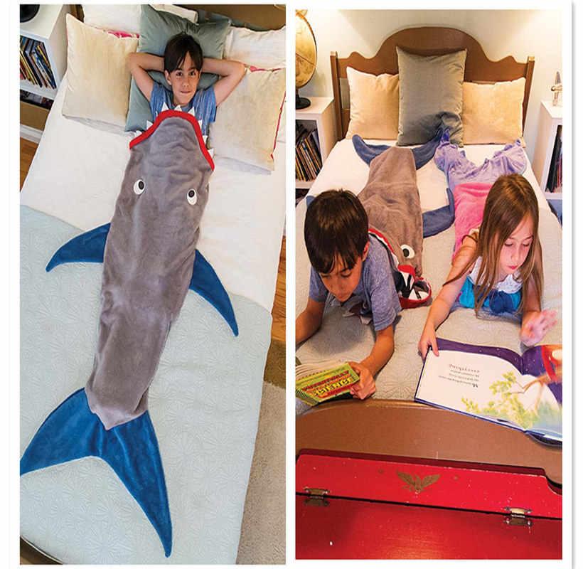 Распродажа двухслойный флис Акула хвост русалки одеяло дети Русалка одеяло для сна мешок диван кровать пледы оптом