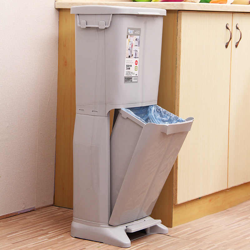 Classification Trash Can Plastic Garbage Bin Waste Rubbish Dustbin For  Kitchen High-capacity Double-deck Trash Can Waste Bins
