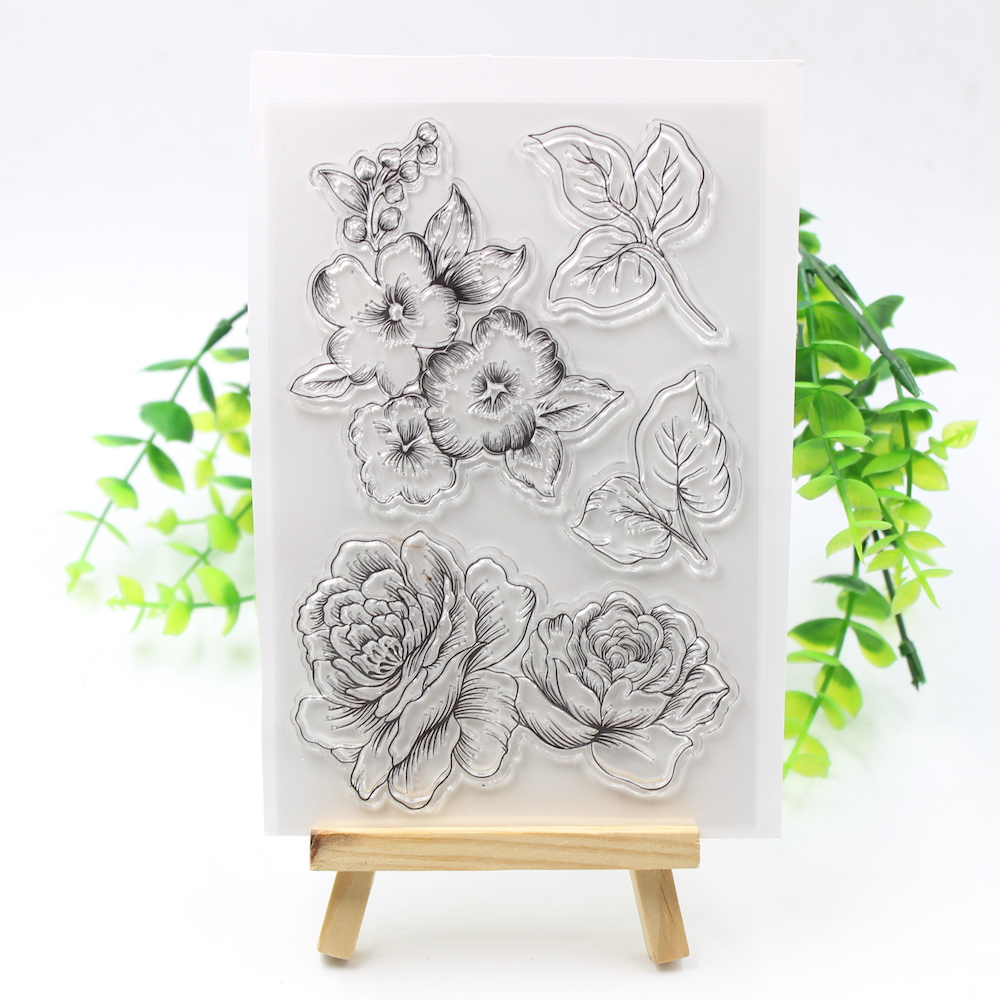 Big Flower Transparent Clear Silicone Stamps for DIY Scrapbooking/Card Making/Kids Crafts Fun Decoration Supplies