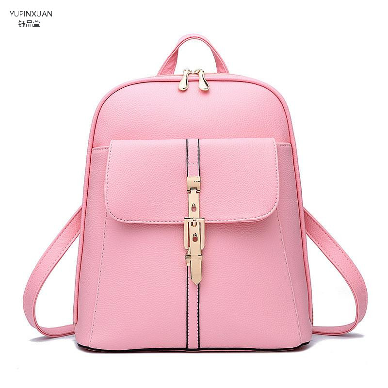 YUPINXUAN 7 colors Solid Leather Rolling Backpacks for women Branded zipper Backpacks White Travel Backpacks Red