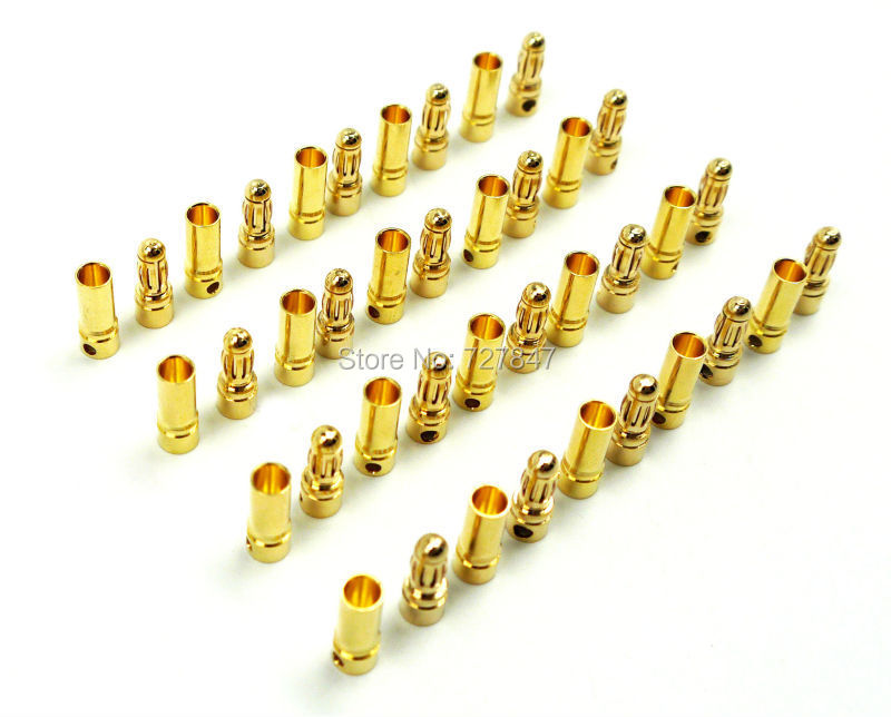 Best quality 20 pairs/Lot TB35 <font><b>3.5mm</b></font> Gold <font><b>Bullet</b></font> Banana Connector <font><b>plug</b></font> 3.5 mm Thick Gold Plated For ESC Battery image