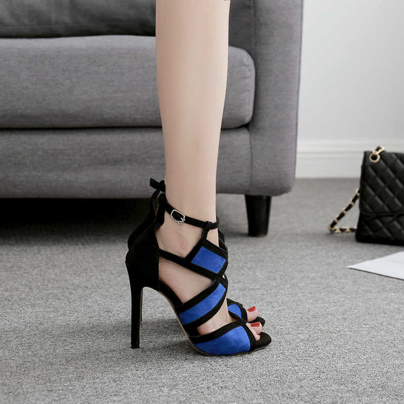 Silentsea Sandals Shoes Celebrity Wearing flesh Colors Style Clear Colorful Strappy Sandals High Heels Shoes Mid Heel Shoes
