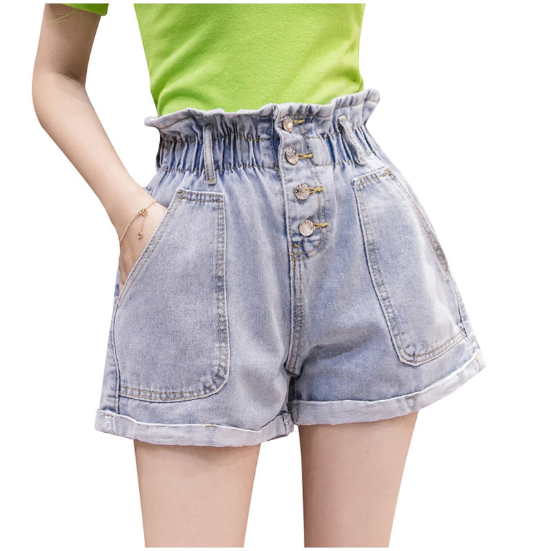 Summer Women Denim Shorts Plus Size Elastic Waist Crimping Loose Short Jeans 2019 New Blue Lady Button Big Pocket Casual Shorts