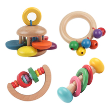 1Pcs Newborn Baby Musical Educational Toys Kids Wooden Hand Bell Rattle Baby Shaking Toys For Children