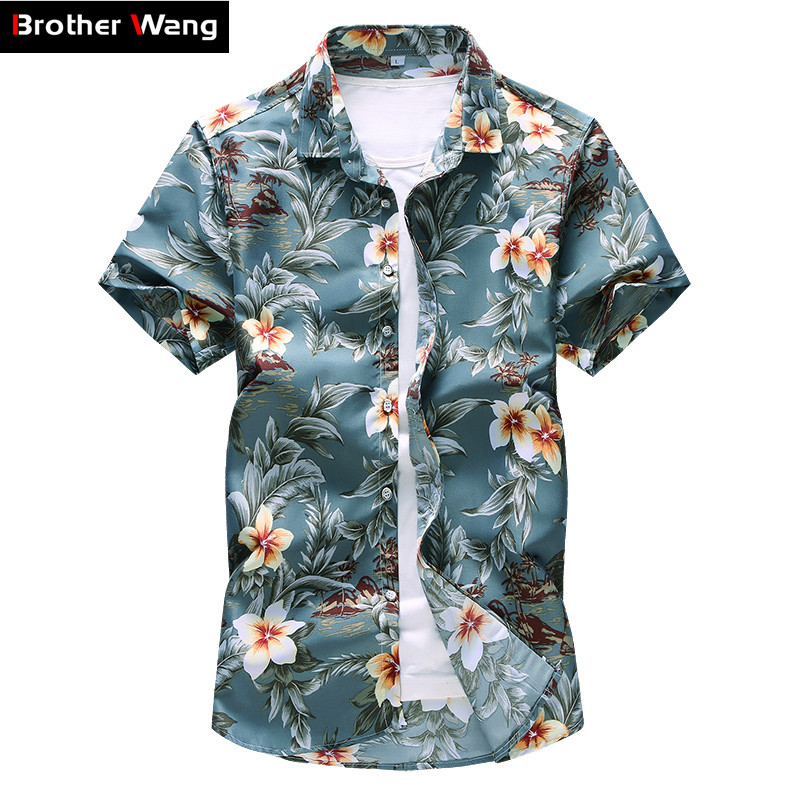 Plus Size 5XL 6XL 7XL Men's Flower Shirt 2019 Summer New Style Fashion Casual Short Sleeved Hawaiian Shirt Male Brand Clothes