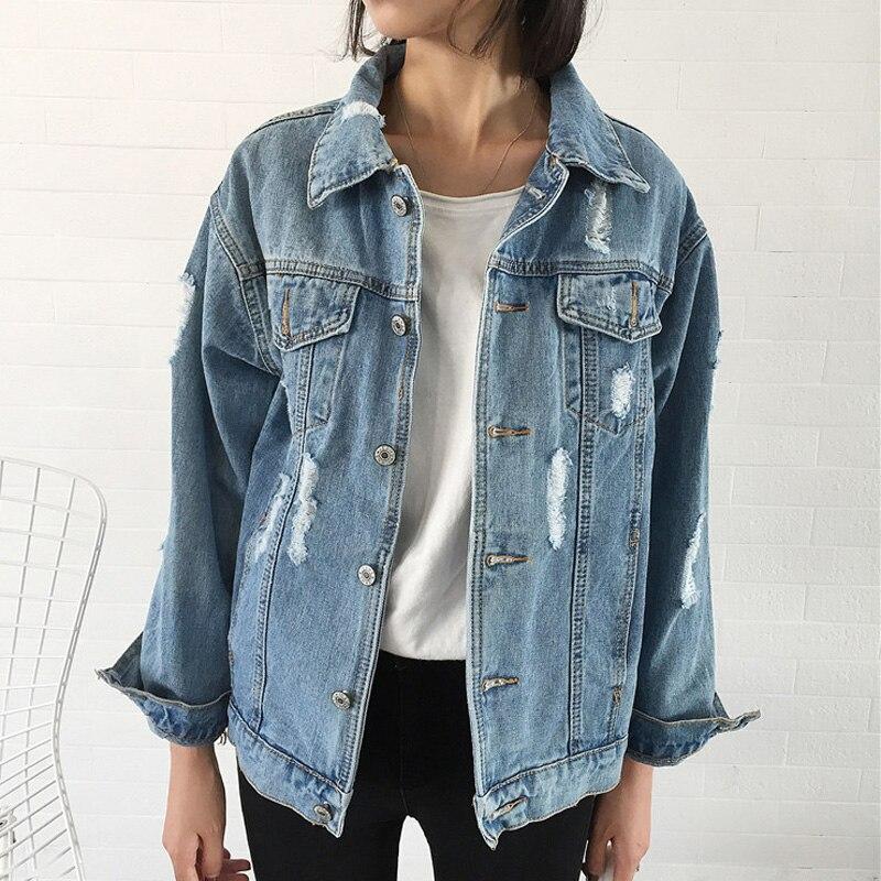 Women Basic Coats Autumn And Winter Women Denim Jacket 2018 Vintage Long Sleeve Loose Female Jeans Coat Casual Girls Outwear
