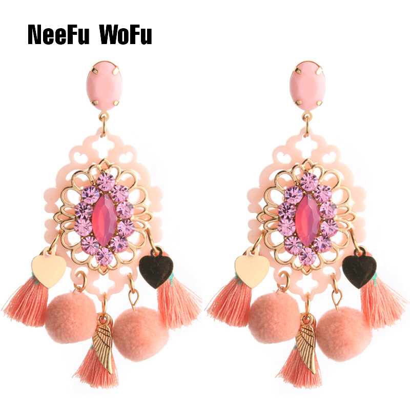 NeeFu WoFu Big Earrings Hairball Earring Band Tassel earrings Crystal Large  Rhinestone Long Brinco Ear Oorbellen 37f814bd558d