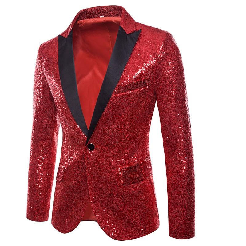 Image 5 - Mens One Button Black Sequin Dress Blazers 2018 Brand New  Nightclub Prom Men Suit Jacket Wedding Party Stage Blazer  MasculinoBlazers