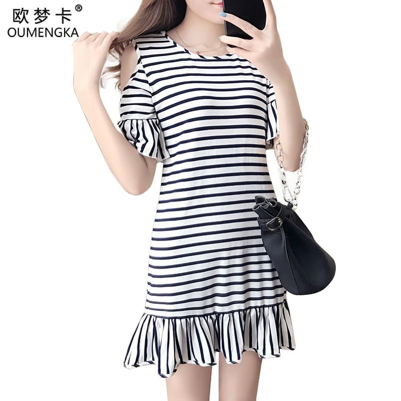 Casual Striped Dress Flare Sleeve Women Cotton Straight Long T Shirt Top Tee Boho vestido Summer Style Beach Wear Preppy Desses