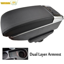Car Dual Layer Storage Box Center Console Leather Armrest Cup Holder For Kia Rio 4 YB 2017 Central Part X Line