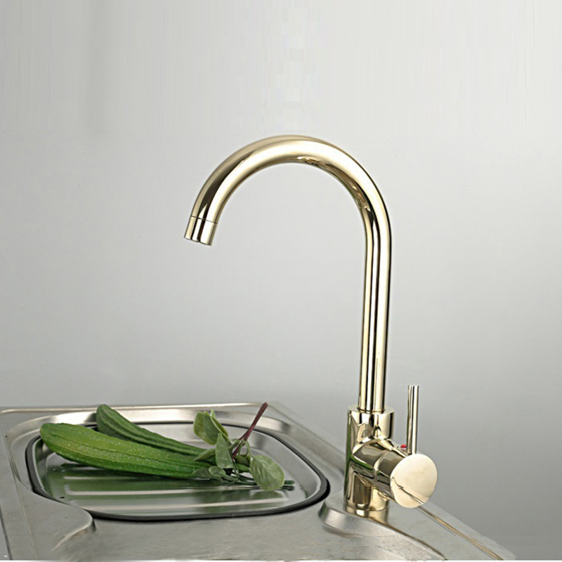 Contemporary contracted 100 Copper hot and cold kitchen faucet gold color sink vegetables basin mixers taps