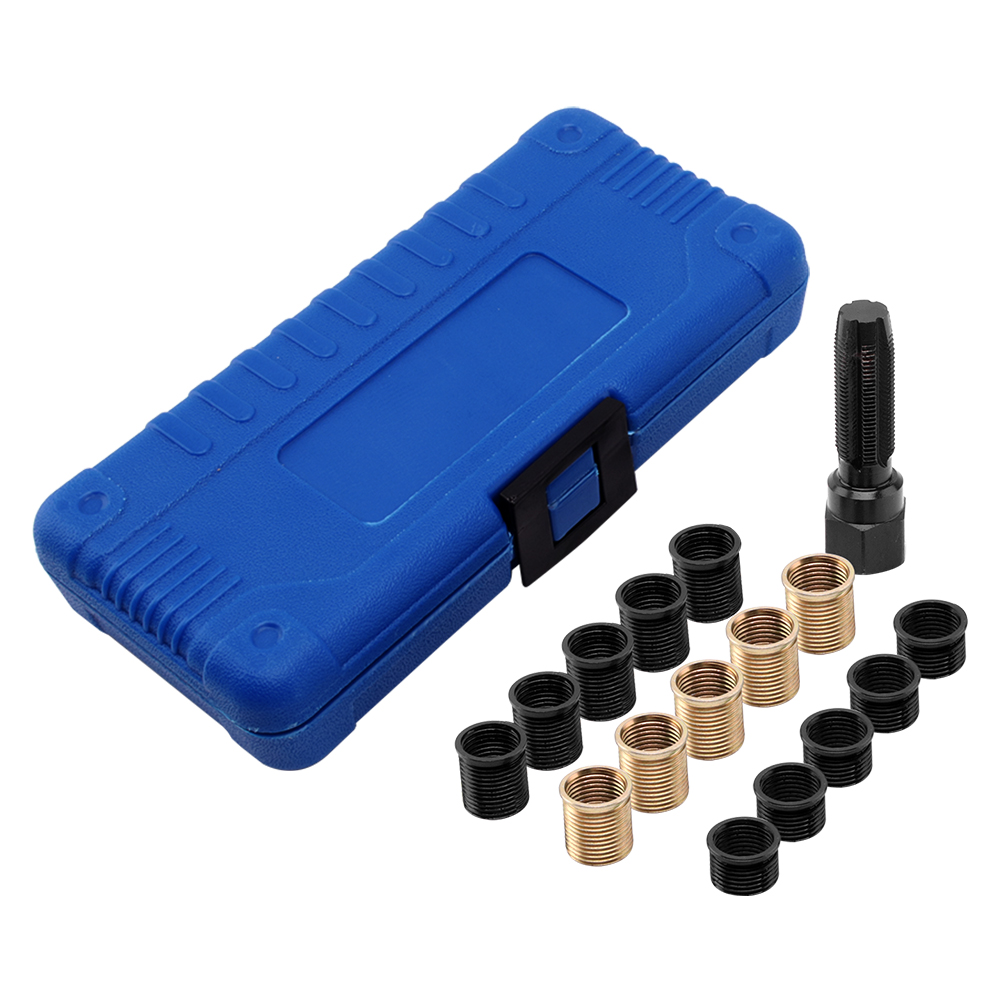 16 pz Spark Plug Tap Filetto di Riparazione Set Testa del Cilindro Infilare Nuovamente Kit