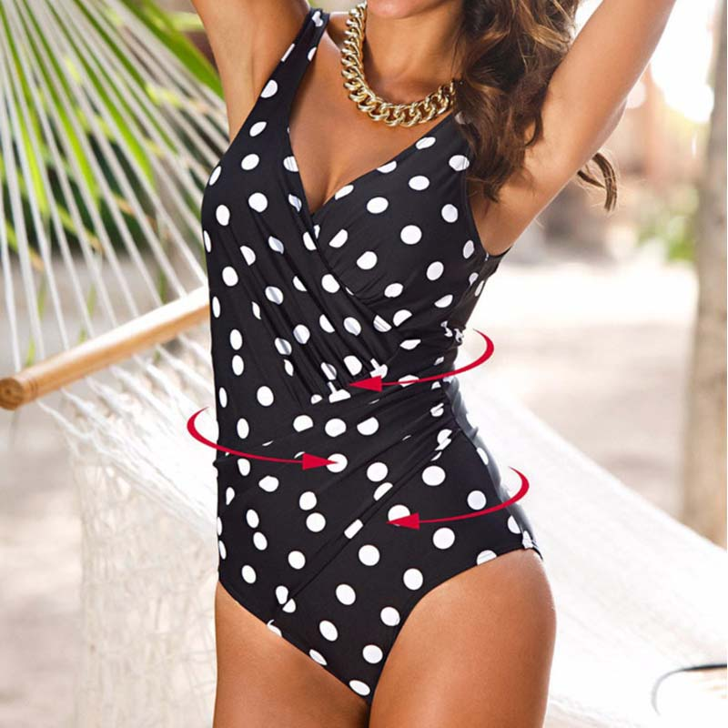 Large Swimsuits Swimwear Bathing-Suit Beach-Wear Push-Up One-Piece Black Female Sexy title=