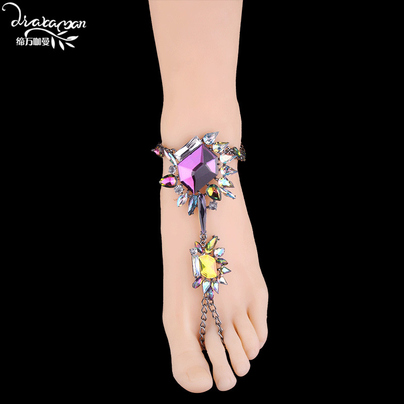 Dvacaman Brand 2017 Boho Style Crystal Anklets Women Wedding Party Statement Jewelry Sexy Footbare Acessory Bijoux Hand/FootCC47