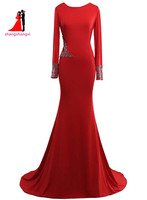 שמלות ערב ארוכות בתוספת גודל 2017 אדום עם Cerates; חרוזים בת ים מסיבת חתונת שמלת SleeveProm ארוך שמלת