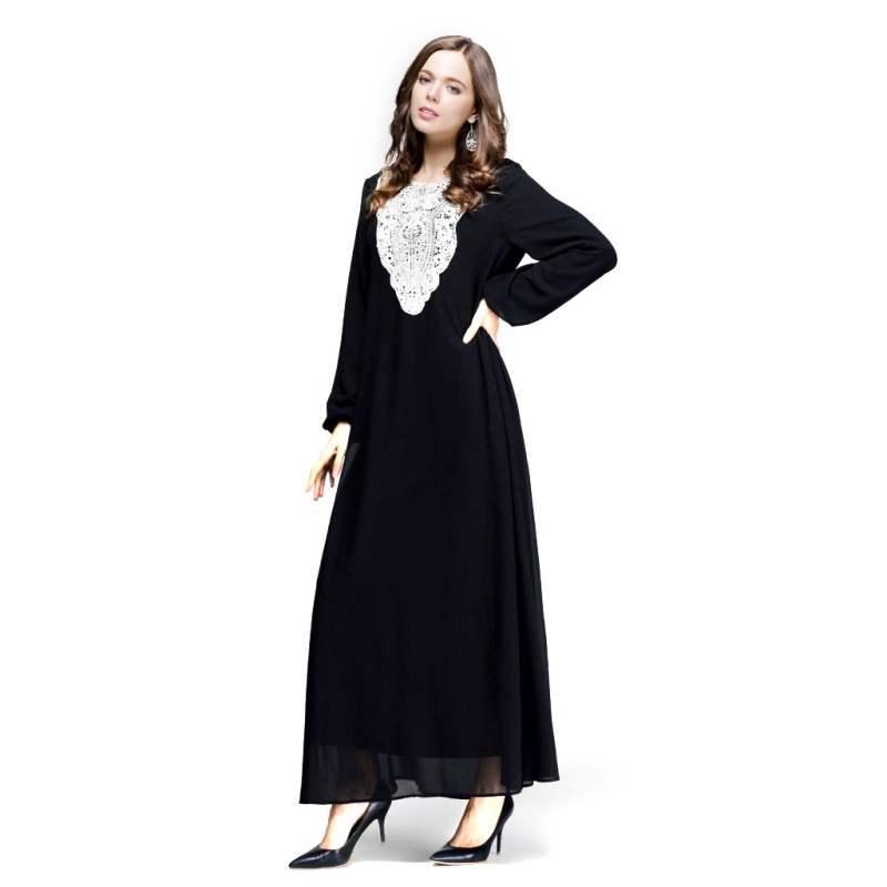 Kaftan Jilbab Islamic Muslim Abaya Women Chiffon Maxi Long Sleeve Dress S4