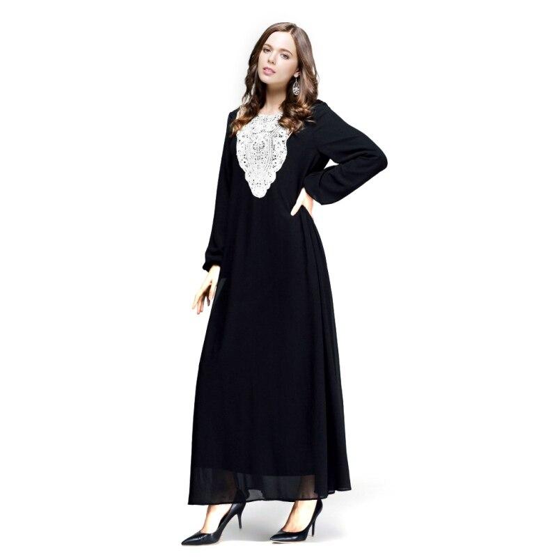 65485cd011a Kaftan Jilbab Islamique Musulman Abaya Femmes En Mousseline de Soie Maxi  Manches Longues Robe S4