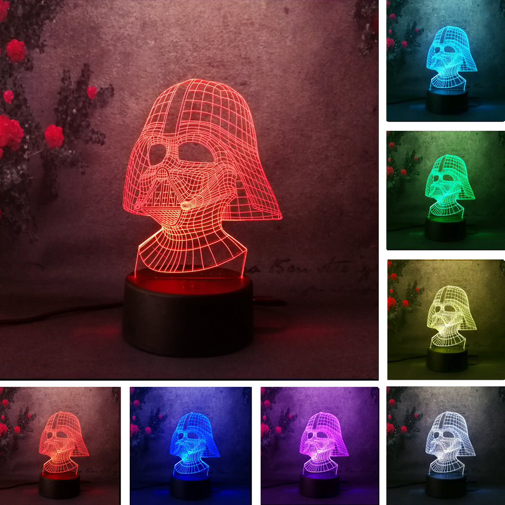 Lave Lampara Star War figure Darth Vader 3D Led Sleeping Nightlight Touch senser USB Table Illusion Mood Dimming Lamp 7 Color free shipping 1piece new arrive marvel anti hero deadpool figure light handmade 3d bulbing illusion lamp led mood light for kid